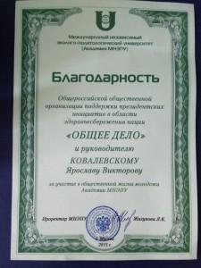 Общее дело в Международном независимом эколого-политологическом университете Ярослав Ковалевский