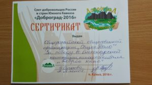 Общее дело на слёте добровольцев Кавказа и России «Доброград 2016»